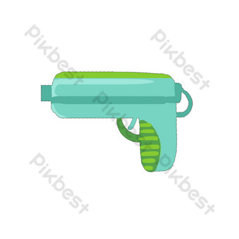 Toy water gun blue green seaside children's day free PNG Images Template PSD