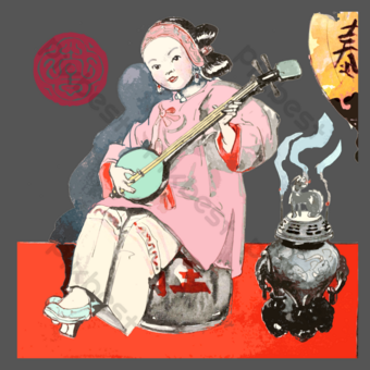 清代傳統中國音樂家演奏節日 元素 模板 PSD