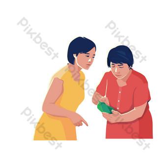 dua orang ibu membahas elemen siomay Elemen Grafis Templat PSD