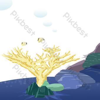 escuela de peces submarinos ilustración de algas marinas Elementos graficos Modelo PSD