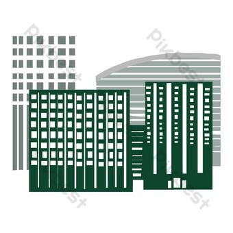 المباني الشاهقة الحضرية الصور الظلية صور PNG قالب PSD