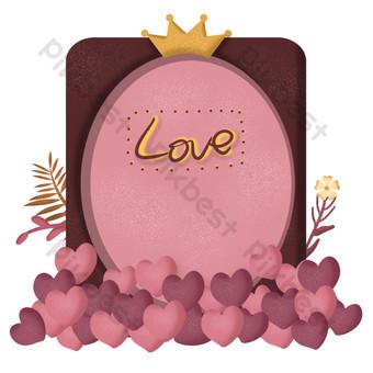 Valentine pink romantic series bouquet border PNG Images Template PSD