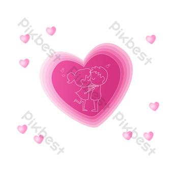 gráficos de amor superpuestos rosa de san valentín Elementos graficos Modelo PSD