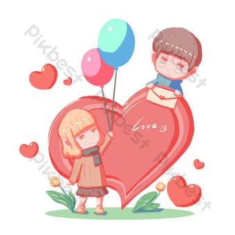 día de san valentín dibujos animados pintados a mano amor pareja personajes hebilla libre png Elementos graficos Modelo PSD