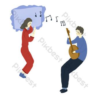 عيد الحب زوجين صبي يلعب الغيتار صورة png لفتاة صور PNG قالب PSD