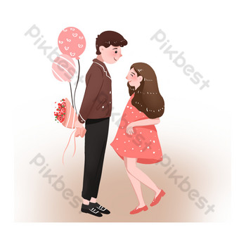 Valentine's day couple dating send flowers and balloons PNG Images Template PSD