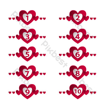 Valentine's Day divider separator PNG Images Template AI