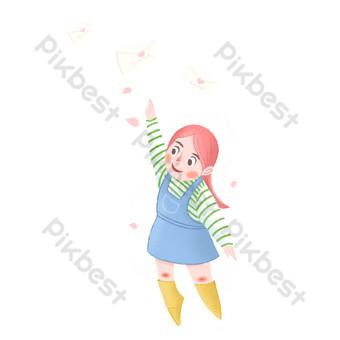 carta de amor del día de san valentín volando alrededor de niña de dibujos animados Elementos graficos Modelo PSD