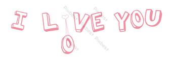 情人節主題粉紅色我愛你的英語告白 元素 模板 PSD