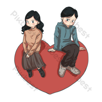 valentines day cartoon boy cartoon girl drawing vector set illustration love peach PNG Images Template PSD