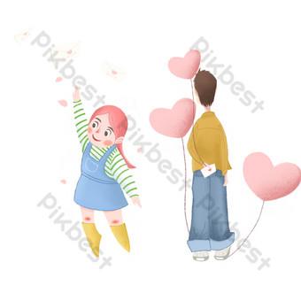día de san valentín dibujos animados niña niño amor globo confesión colección de cartas de amor Elementos graficos Modelo PSD