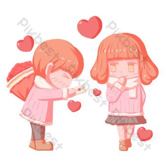 día de san valentín dibujos animados pintados a mano carta de amor confesión personaje hebilla libre png Elementos graficos Modelo PSD
