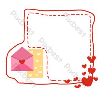 ilustración de borde de amor de día de san valentín Elementos graficos Modelo PSD
