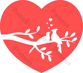 día de san valentín amor pájaro decoración gráficos vectoriales Elementos graficos Modelo AI