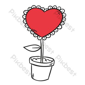 día de san valentín amor flores en maceta vector patrón Elementos graficos Modelo AI