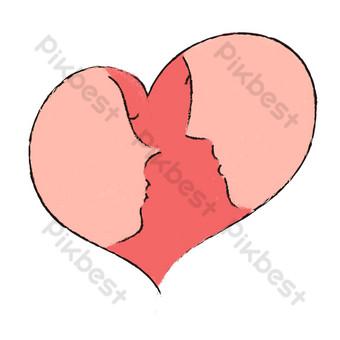 día de san valentín rojo pintado a mano pareja romántica silueta amor patrón Elementos graficos Modelo PSD
