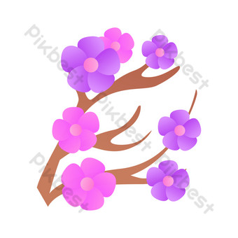 vector hebilla gratis ramas de flores moradas Elementos graficos Modelo AI