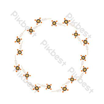 vector de dibujos animados plana floral borde redondo Elementos graficos Modelo EPS