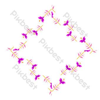 vector de dibujos animados plana frontera floral púrpura Elementos graficos Modelo EPS