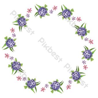 vector de dibujos animados plana púrpura floral borde redondo decorativo Elementos graficos Modelo EPS