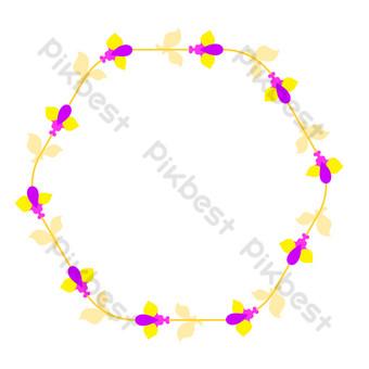 vector de dibujos animados plana púrpura fresca frontera floral Elementos graficos Modelo EPS