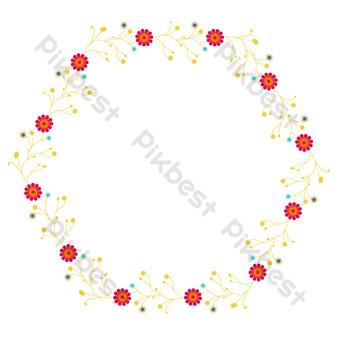 vector de dibujos animados plana flor roja borde hexagonal Elementos graficos Modelo EPS