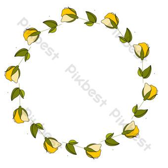vector de dibujos animados plana borde floral amarillo Elementos graficos Modelo EPS