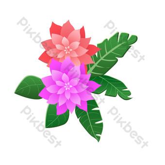 ناقلات تصميم الأزهار عناصر الأوراق الخضراء والزهور أوراق كبيرة صور PNG قالب PSD