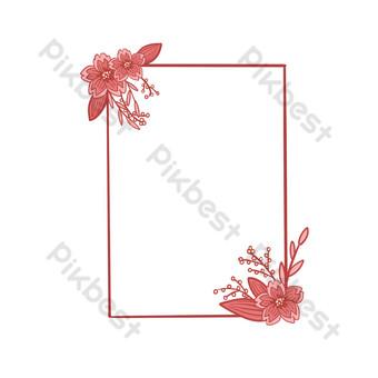 frontera de flor de cerezo romántica libre de vector Elementos graficos Modelo PSD