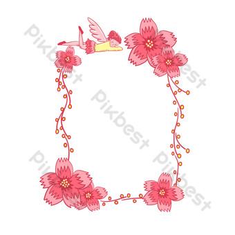 vector libre romántico cuento de hadas rosa hada flor de cerezo frontera Elementos graficos Modelo PSD