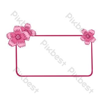vector libre romántico rosa flor de cerezo frontera Elementos graficos Modelo PSD