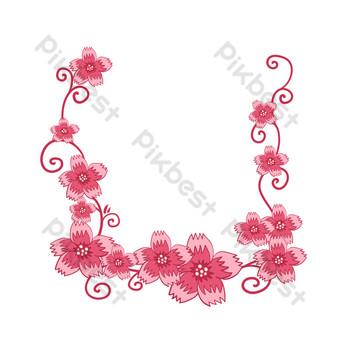 vector libre romántico vid flores flor de cerezo frontera Elementos graficos Modelo PSD