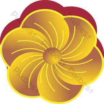 vector flores doradas con sombra roja Elementos graficos Modelo AI
