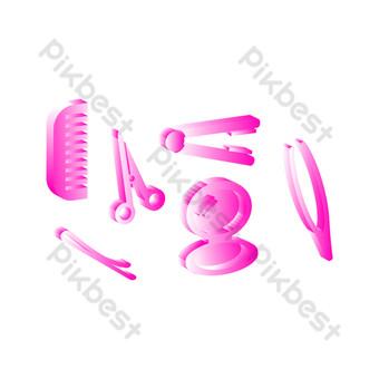 vector dibujado a mano salón de belleza rosa Elementos graficos Modelo AI