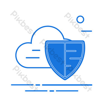 Vector illustration cloud computing security protection shield PNG Images Template AI