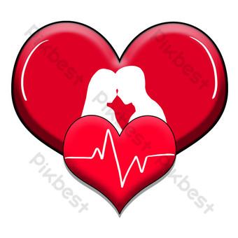 vector, amor, corazón rojo, pareja, silueta, ilustración Elementos graficos Modelo PSD