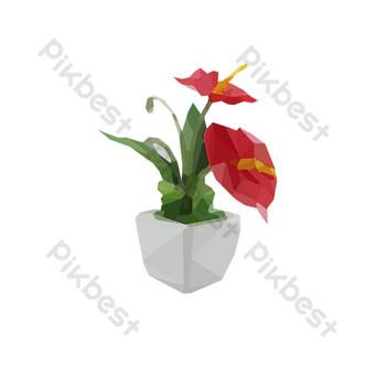 vector planta flor roja simple ps Elementos graficos Modelo PSD