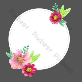 vector acuarela floral borde redondo Elementos graficos Modelo EPS