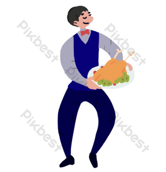 Waiter serving roast chicken on Thanksgiving PNG Images Template PSD