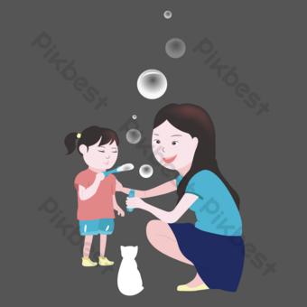 cálida caricatura de tema familiar Elementos graficos Modelo PSD