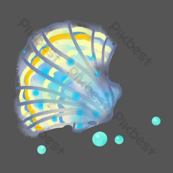 Water creature watercolor seashell PNG Images Template PSD