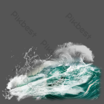 Water effect blue sea wave element PNG Images Template PSD