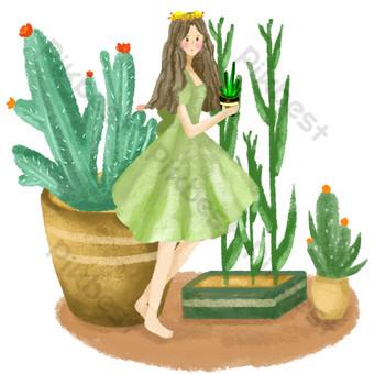 акварель девушка и растение свободный вырез Графические элементы шаблон PSD