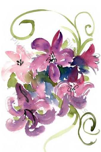 acuarela patrón floral púrpura Elementos graficos Modelo PSD