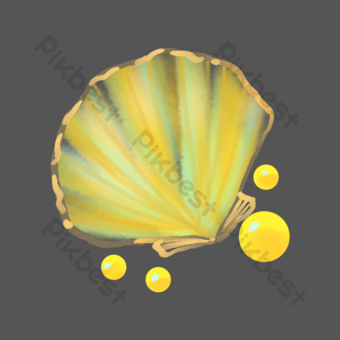 Watercolor yellow seashell PNG Images Template PSD