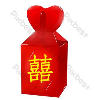 ilustrasi amplop merah permen pernikahan Elemen Grafis Templat PSD