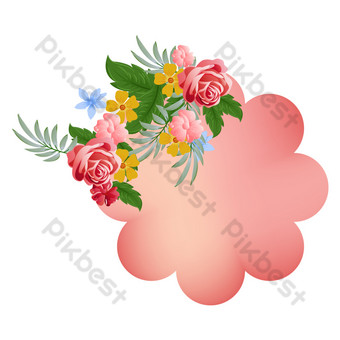 Carte de voeux de mariage fleurs frontière Éléments graphiques Modèle AI