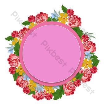 Invitation de carte de voeux de fleurs de mariage Éléments graphiques Modèle AI