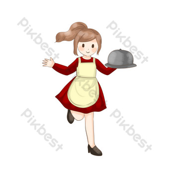 Western restaurant waiter serving dishes PNG Images Template PSD