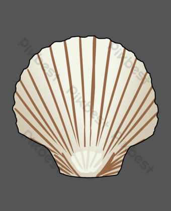 White cartoon seashell PNG Images Template PSD